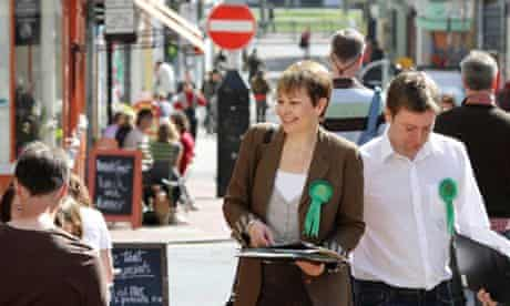 Former Green party leader Caroline Lucas, out on the general election campaign trail in Brighton