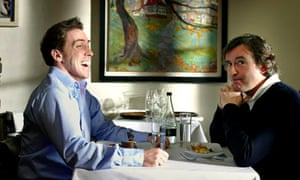 Rob Brydon and Steve Coogan at restaurant table in The Trip.