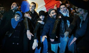 Supporters of the French comedian Dieudonné make the quenelle gesture during a demonstration in Pari