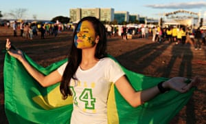 An evangelical Christian joins the March for Jesus rally in Brazil