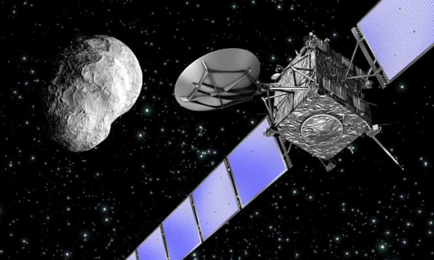 Artist's impression of the Rosetta spacecraft flying past an asteroid