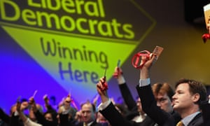 Nick Clegg voting at Lib Dem conference