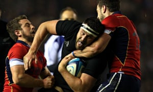A late try from the New Zealand lock Jeremy Thrush proved the difference against a Scotland side int