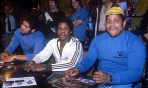The Sugarhill Gang: Wonder Mike, Master Gee and Big Bank Hank signing autographs