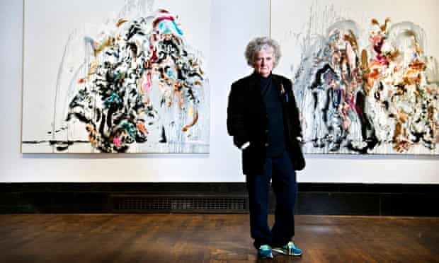 Maggi Hambling with two Walls of Water paintings at National Gallery, London