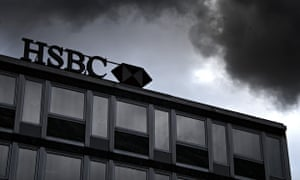 HSBC building, with dark clouds above
