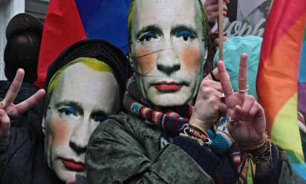 Gay rights campaigners in Vladimir Putin masks protest outside the Russian Embassy in London