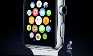 Apple CEO Tim Cook announces the Apple Watch in Cupertino, California, on 9 September 2014