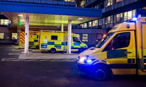 Ambulances arriving at the Accident & Emergency department at Addenbrooke's Hospital in Cambridge.