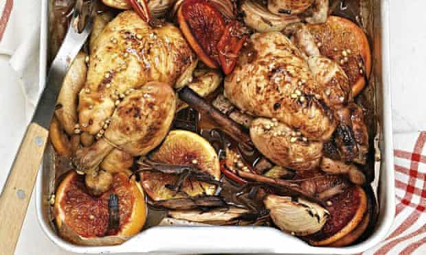 Roast poussins with blood orange and coriander seeds