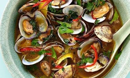 Yotam Ottolenghi's clams in kaffir lime and Thai basil broth