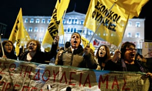 Anti-austerity protesters gather outside parliament in Athens on Sunday.