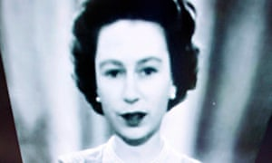 Queen Elizabeth II black-and-white screen image