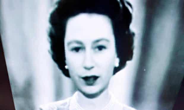 Queen Elizabeth II black-and-white screen image