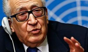 UN mediator Lakhdar Brahimi speaking to the media
