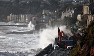 Railway washed away at Dawlish
