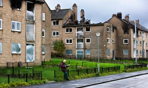 Easterhouse, Glasgow: boarded up and burnt-out housing estate