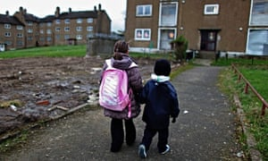Children walking in a deprived area of Glasgow