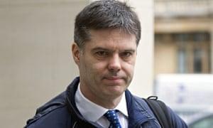 PC James Kiddie arrives at his trial