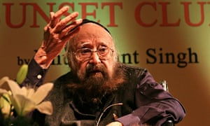 Khushwant Singh instage at the launch of his final novel The Sunset Club