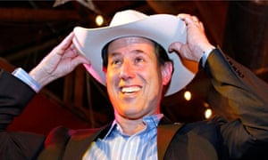 Rick Santorum wearing a 'cowboy hat'