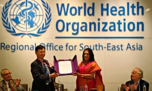 The WHO declared 11 Asian countries free of polio