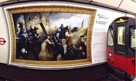 Ben Moore's As It Was in the Beginning, on a poster at Angel tube station, London.