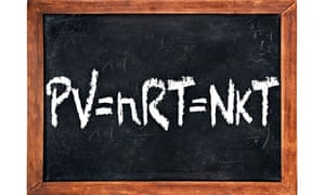 The ideal gas equation, PV=nRT=NkT, chalked on a blackboard