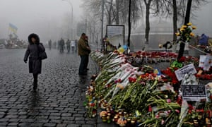 Flowers laid out on a Kiev street in tribute to those who died in anti-government protests