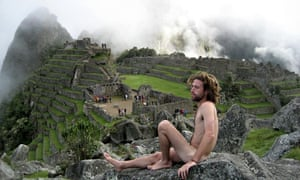 Machu Picchu: naked man posing in picture from pictures like this from mynakedtrip.com