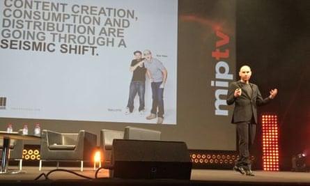 René Rechtman of Maker Studios on stage at MIPTV