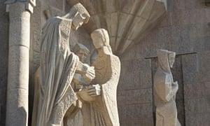 Josep Maria Subirachs' Passion Facade of La Sagrada Família in Barcelona, Spain