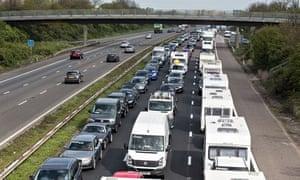 Three lanes of queuing of traffic on M5 motorway