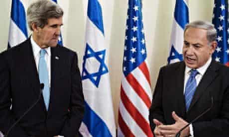 John Kerry, Benjamin Netanyahu and flags