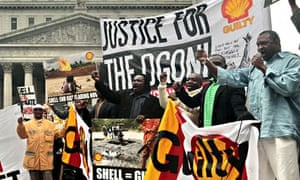 Campaigners demonstrate against Shell's actions in the Ogoni region of Nigeria
