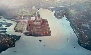 Foster and Partners' artist impression of a four-runway Thames estuary airport capable.