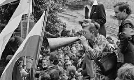Gdansk shipyard workers on strike with Lech Wałesa, in May 1980.