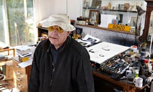 Ralph Steadman in his studio at home in Maidstone, Kent