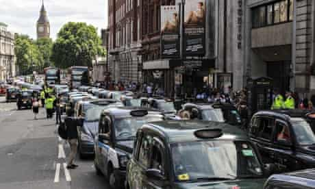Uber App Black Cab protest staged in central London