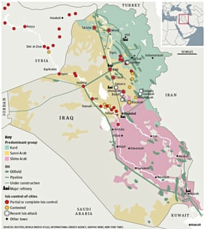 Iraq oil map ISIS