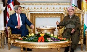 John Kerry and Massoud Barzani in Irbil