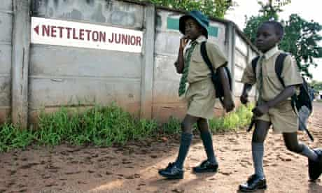 Students walk to school in Harare, Zimbabwe