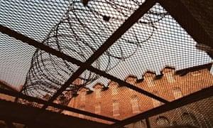 La Santé prison, Paris, view of barbed wire and building