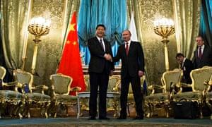 Xi Jinping and Vladimir Putin shake hands, Grand Kremlin Palace, Moscow, March 2013