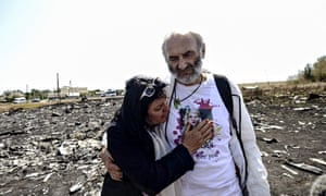 Jerzy Dyczynsk and Angela Rudhart-Dyczynski, whose daughter died on flight MH17, at the crash site