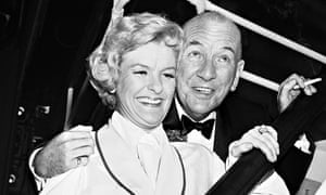 Noel Coward and Elaine Stritch backstage after the Broadway opening of Sail Away.
