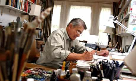 Children's author and book illustrator Val Biro working at home in Bosham, West Sussex