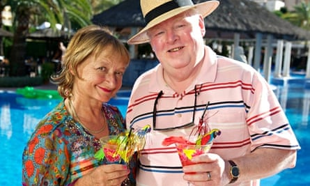 Kenny Ireland with Janine Duvitski as swingers Donald and Jacqueline in the ITV sitcom Benidorm