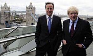 Boris Johnson and David Cameron at City Hall, London. Tower Bridge in background