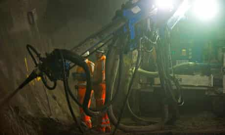 Spraying concrete 35 metres below ground in the Crossrail tunnel at Whitechapel.